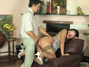 Blindfold babe in silky stockings throwing her yummy butt on throbbing cock