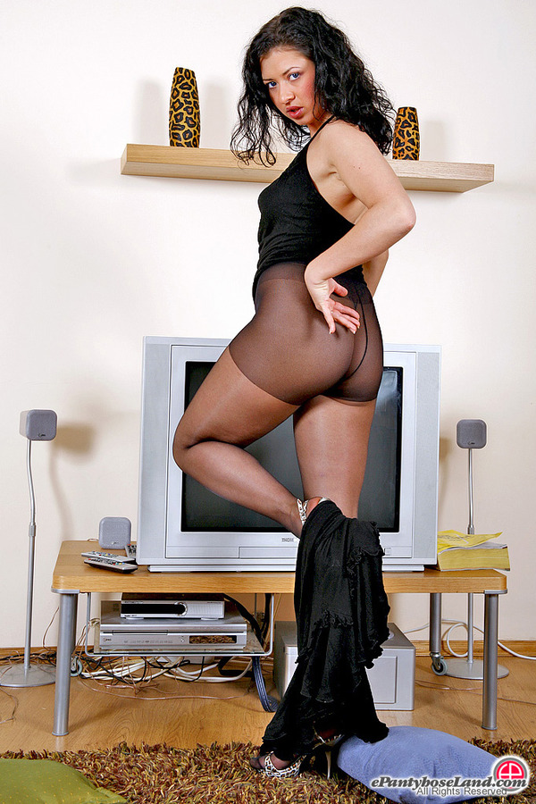 Black Pantyhose Heated Brunette 79