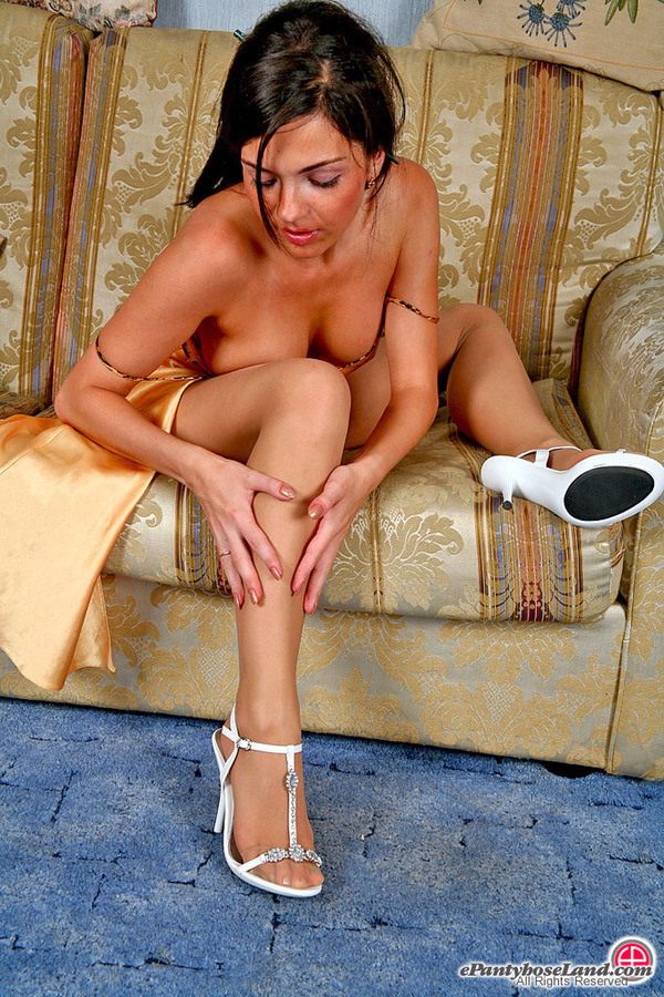 Naughty chick in smooth pantyhose fingering her beaver in every which way
