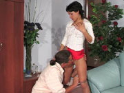 Nasty young maid caught with a drink pleasing her older master's hard dick