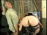 Nasty young secretary climbing her graying boss's desk for a hardcore fuck