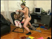 Filthy lass having kicks luring eager older male into sizzling hot boning