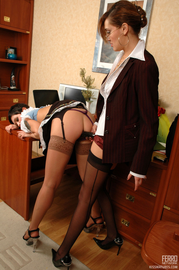 Naughty french maid licking mature gals