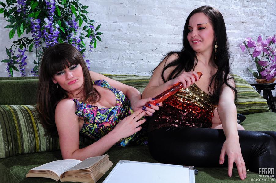 Beautiful lesbian couple anal toying and