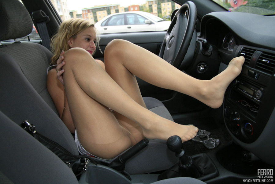Pantyhose legs in cars you