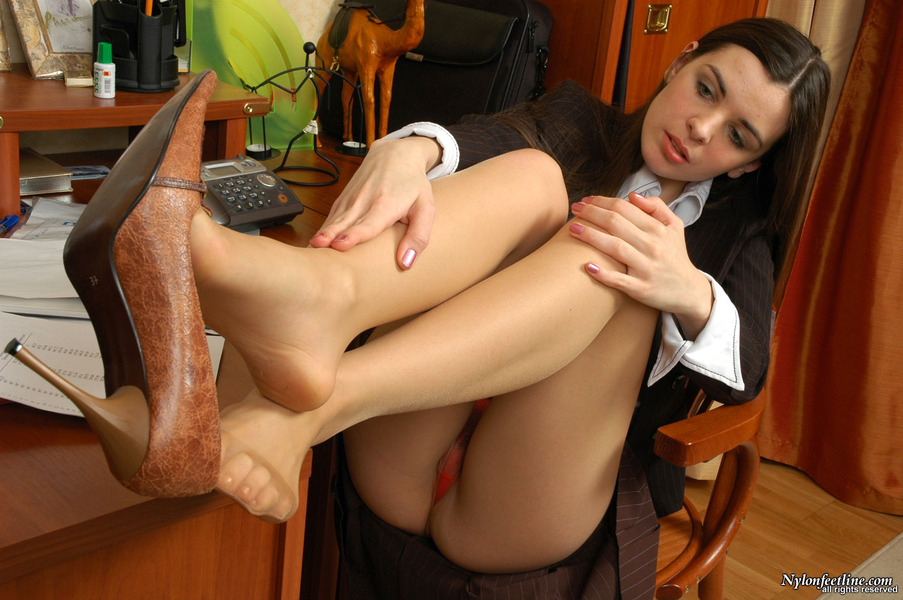 Daily ritual secretary stocking foot job