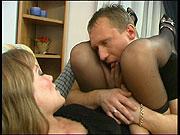 Amazing babe getting her stockinged legs licked before hard fucking on sofa