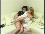 Extremely sexy gal in soft silky stockings fulfilling her scam of seduction