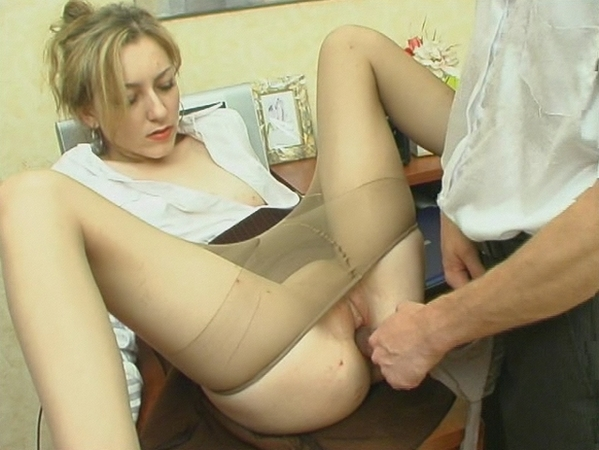 Getting Silky Pantyhose Pushed 33