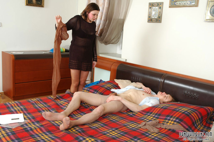 Rubbing Hot Pantyhose Against Her 85