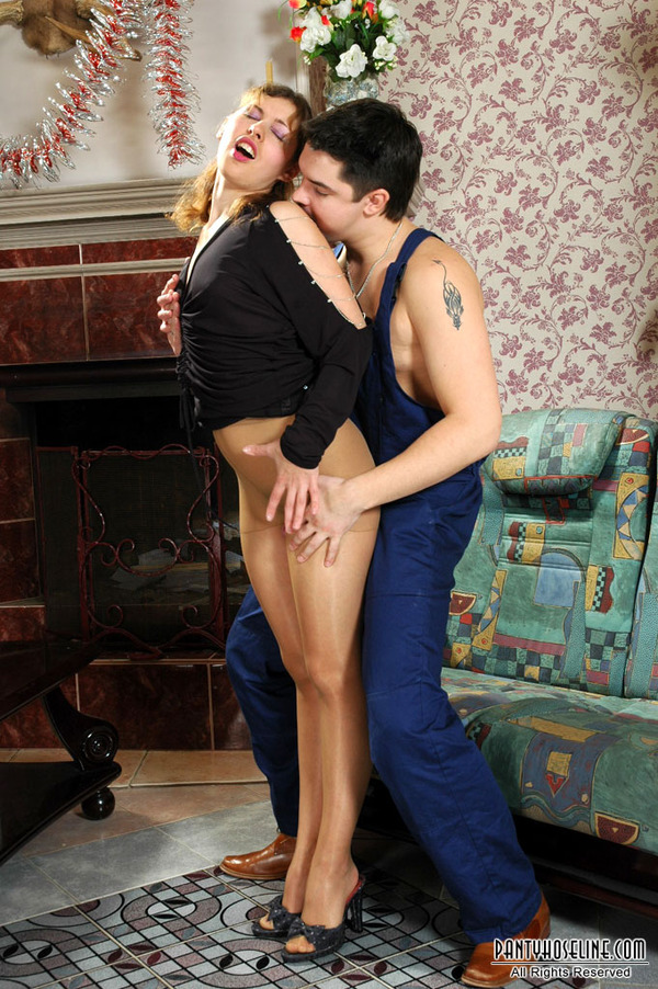 In lacy pantyhose seducing argue