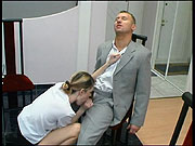 In spite of working meeting hot guy and cutie in lacy hose fucking on table