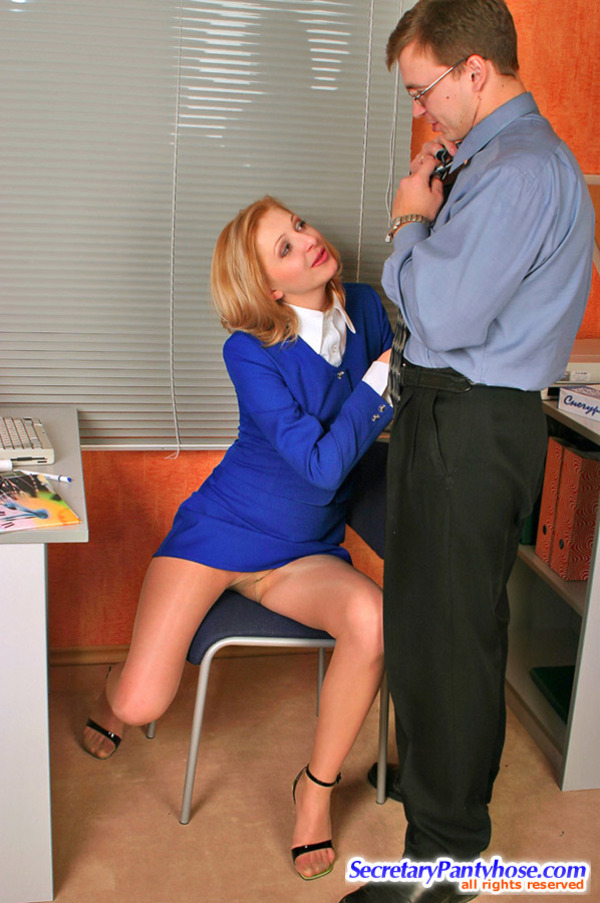 Steaming hot secretary in soft silky pantyhose cowgirl riding on rocky cock